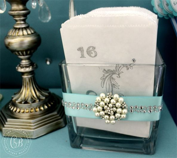 Candy bags for a Tiffany Sweet Sixteen   The Candy Brigade   Candy Buffets   Sweet Sixteen Parties   Tiffany & Co.