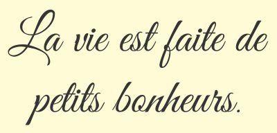 Amazon.com: La vie est faite de petits bonheurs. French for Life is full of little pleasures. Vinyl wall art Inspirational quotes and saying home decor decal sticker: Home & Kitchen