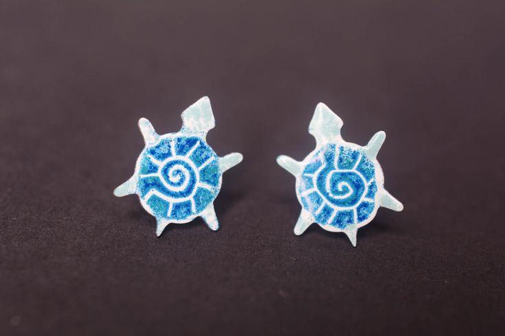 Turtle Earrings, Stainless Steel, Enameled Metal, Tortoise Earrigs, Turquoise Blue, Turtle Jewelry, Tortoise Jewelry, Animal Earrings by CinkyLinky on Etsy