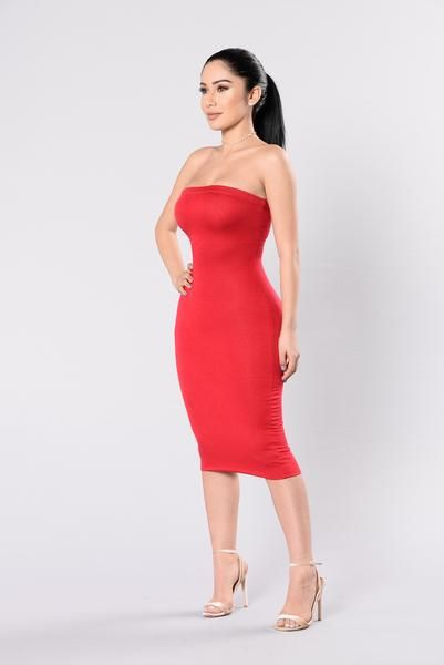 - Available in Black, Blush, Powder Blue, and Red - Tube Dress - Elastic Band - Double Lined - Made in USA - 95% Rayon 5% Spandex