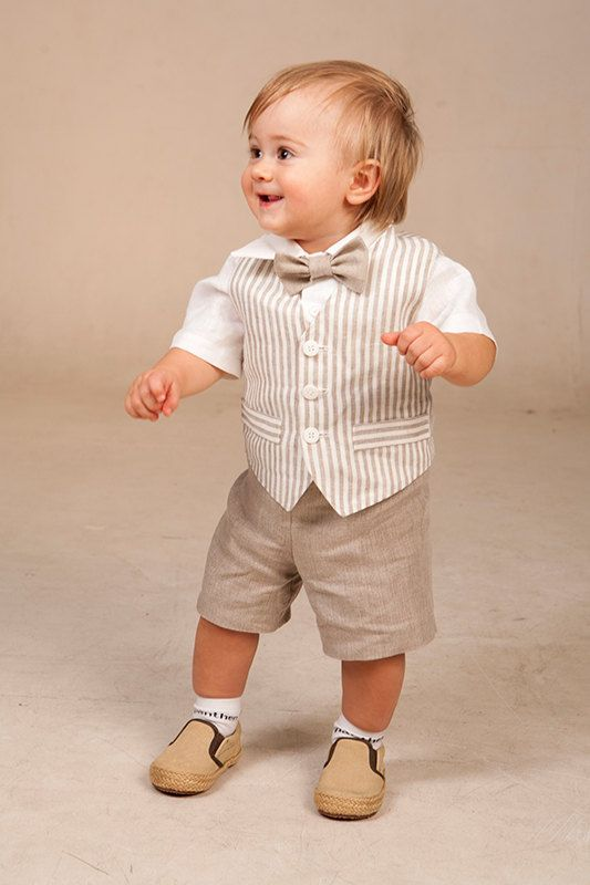 Baby boy ring bearer outfit boy baptism linen suit kids by Graccia