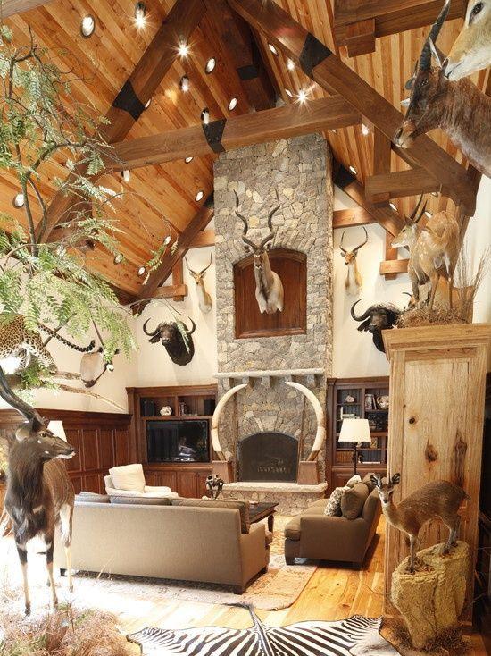 20 brilliant rustic hunting lodge decor | living room