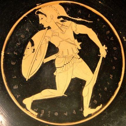 Fleeing Amazon. Tondo of an Attic red-figure kylix, ca. 510–500 BC by Euphronios (Staatliche Antikensammlungen, Munich, Germany)