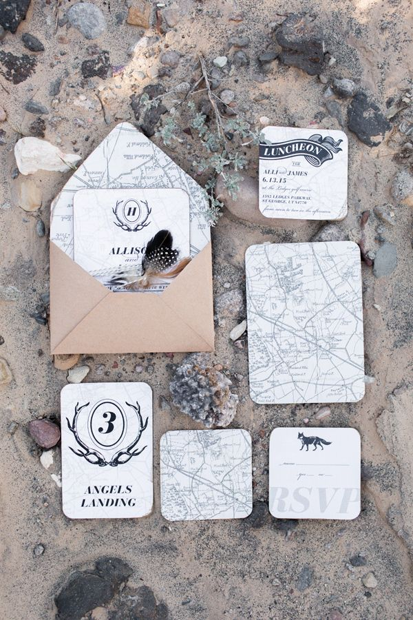 map inspired wedding invitations - photo by Tyler Rye Photography http://ruffledblog.com/rugged-desert-wedding-inspiration #weddinginvitations