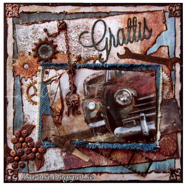 A masculine vintage car card with jeans details