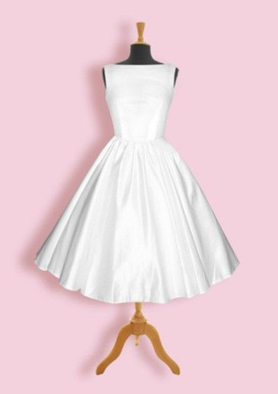 Audrey   Classic 50s Style Wedding Dress Custom Sized Audrey is a fabulous 50's style tea length bridal dress made to order and available in a wide range of colors. Our color palette includes colors s