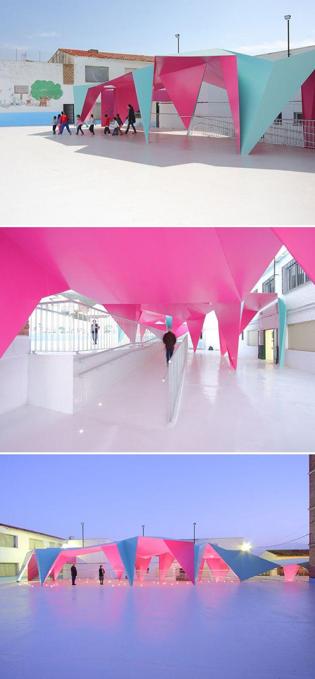 Origami-inspired canopy by architect Julio Barreno Gutiérrez for Principe de Asturias school in southern Spain