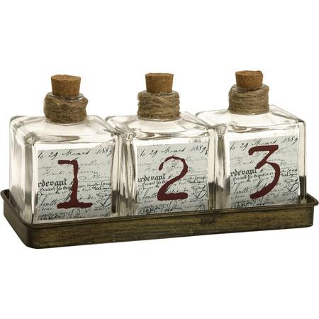 4 Piece Script Bottle & Tray Set