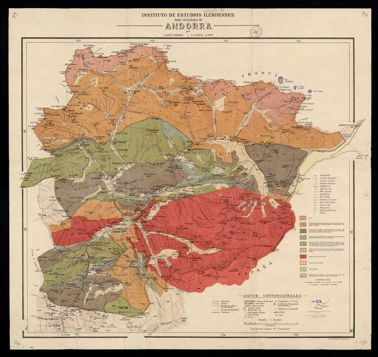 Mapa geolgico de Andorra 1950 por