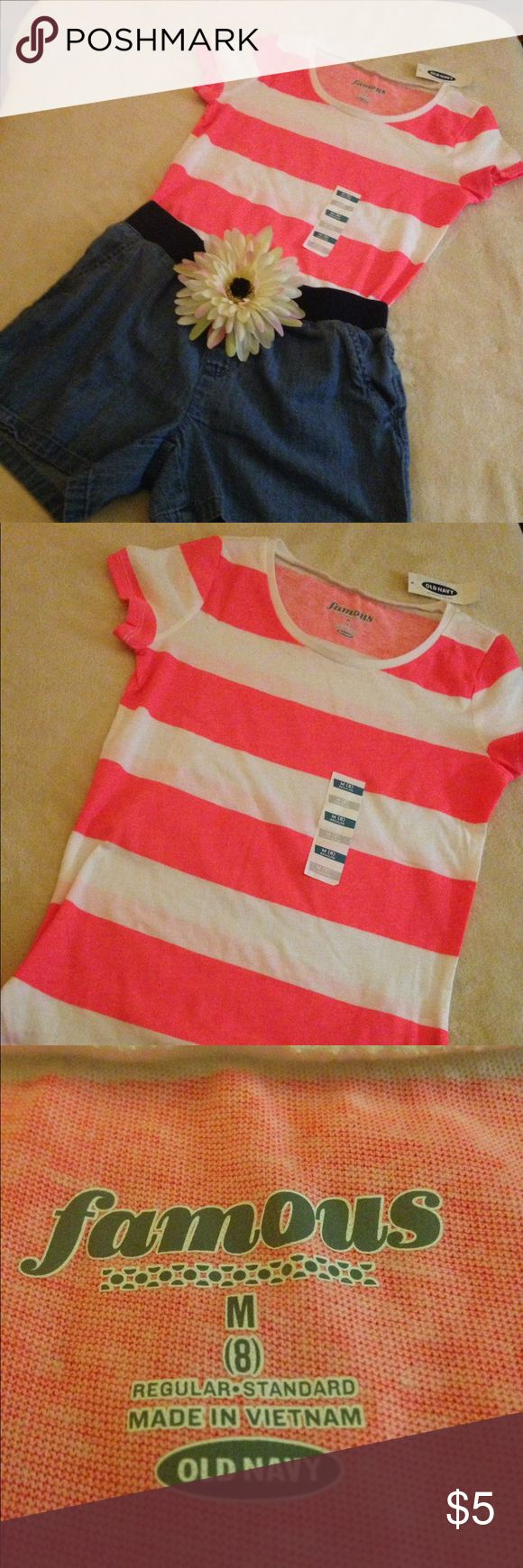 Pink and White Short Sleeve Top A girl can never have too many tops to coordinate with her bottoms This striped, shirt sleeve top is just right for jeans, pants, shorts, and skirts! 100% Cotton Old Navy Shirts & Tops Tees - Short Sleeve