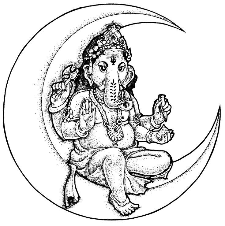 Kleurplaat Ganesh Ganesha Sitting On A Crescent Moon Sacred In 2019