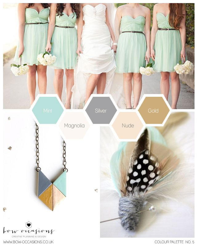Wedding Colour Palette - Mint, Silver + Gold | Bow Occasions | Creative Planning + Design