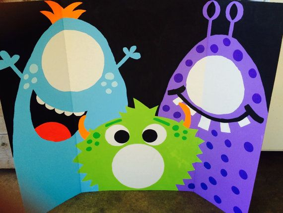 Monster Birthday Party Photo Booth 3 person booth, 35x44 large display Colors can be changed to match your little monsters party! Im more