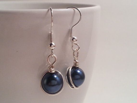 Small wire wrapped pearlized bead earrings by HadesLadies on Etsy