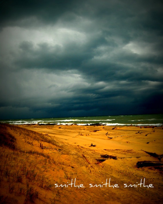 michigan lake superior storm clouds over gray water by boots2183, $8.00