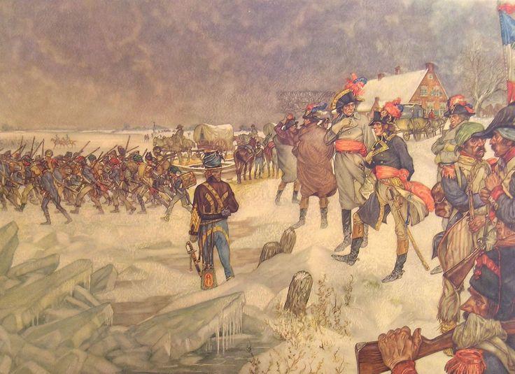 Franse troepen trekken over de #Lek, 15 januari 1795   #Schoolplaat #Isings