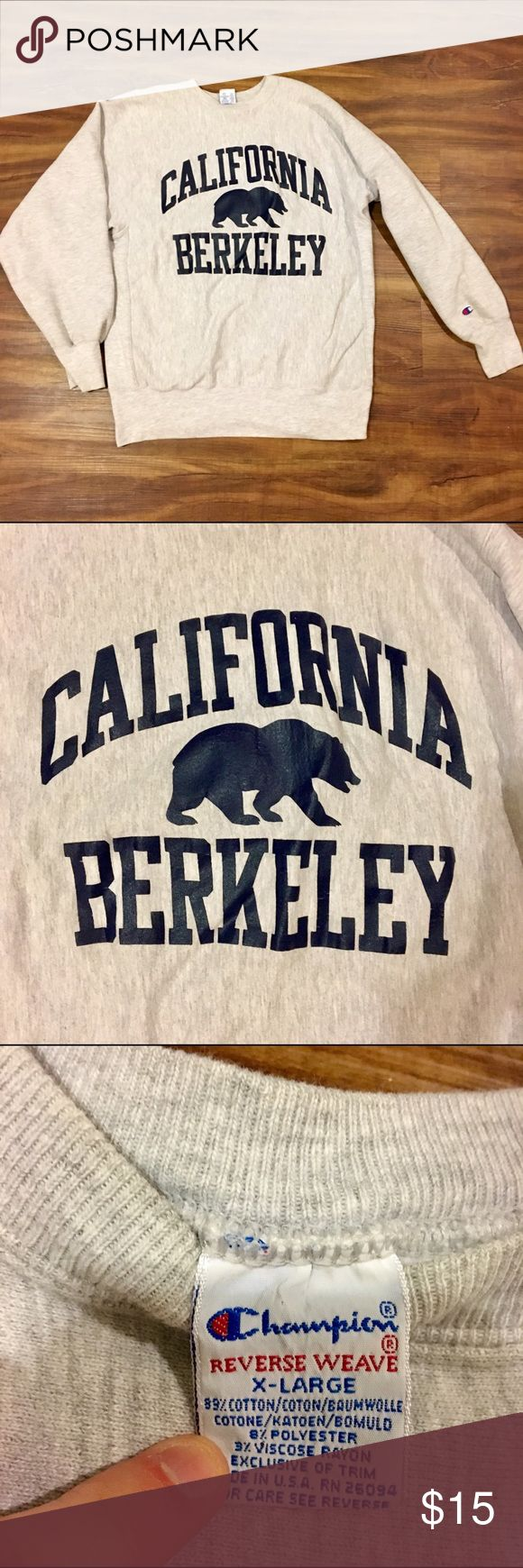 California Berkeley pullover California Berkeley pull over. Super cozy vintage champion brand. Size extra large but would fit a medium or large as oversized. Small pink stain on sleeve. Oatmeal (cream/gray) color Champion Sweaters