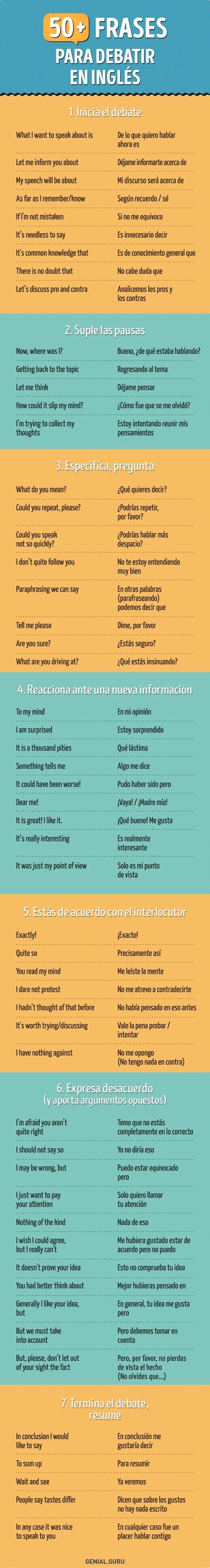 50 frases para debatir en inglés. Las usaremos en nuestros cursos intensivos de inglés en verano en Denia.