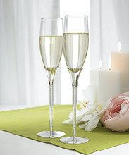 Tube Stem With Crystal Stones Flutes - Set Of 2