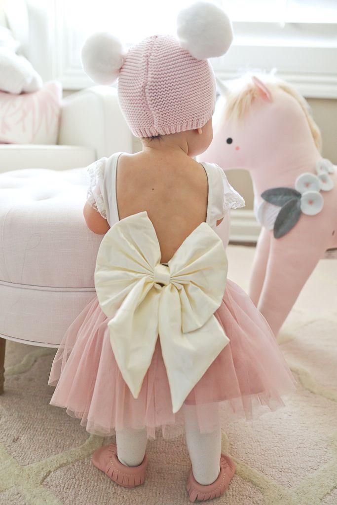 Baby girl leotard, bow leotard, baby girl pink tulle skirt, Gap pink pom pom hat, Freshly Picked Baby Moccasins