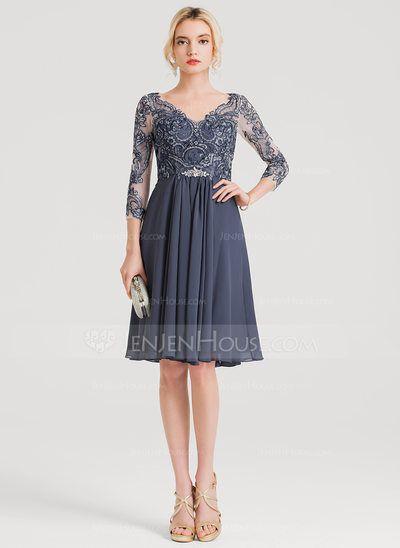 0fa23836f2eb14 A-Line/Princess V-neck Knee-Length Chiffon Cocktail Dress With Beading  (016150446) - JenJenHouse