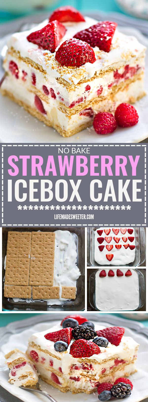 No BAKE Strawberry Cheesecake Icebox Cake is the perfect EASY dessert for spring and summer potlucks, cookouts, parties, barbecues, picnics, Mother's Day & baby showers. A favorite ice box dessert that only requires 5 ingredients and it's a great make ahead dish with fresh strawberries, whipped cream, cheesecake pudding, and graham crackers or shortbread cookies for the shortcake.