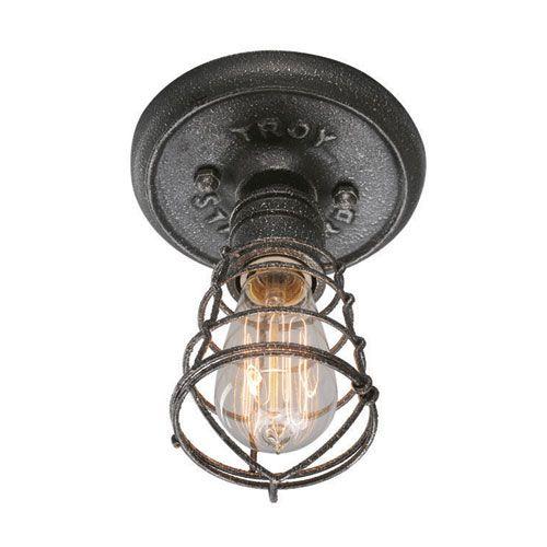 Conduit Old Silver One Light Flush Mount Troy Flush Mount Flush & Semi Flush Lighting Ceil