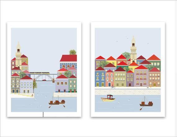 Set 2 Print Porto Skyline Art Porto Skyline Porto Print Porto Wall Art Portugal Print Portugal Wall Art Travel Poster Travel Prints In 2020 Travel Prints City Prints City Illustration