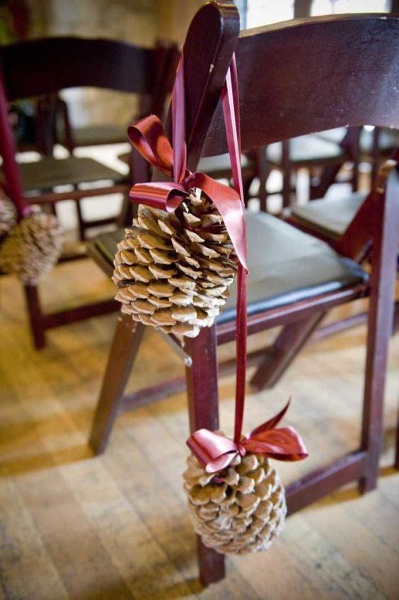 inecones and winter wedding decorations / http://www.himisspuff.com/ribbon-wedding-ideas/6/