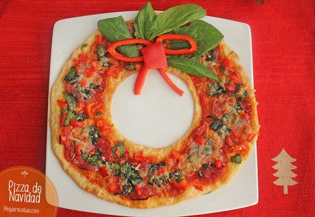 Pizza de Navidad para niños , Una receta divertida para cocinar con niños: pizza de Navidad. Hacemos pizza casera en forma de corona de Navidad, una de las recetas de Navidad ¡más ricas!