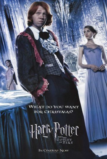 """27x40 Inch Harry Potter and The Goblet of Fire poster features Ron Weasley and Fleur Delecour at The Yule Ball during the Triwizard Tournament. The poster text reads, """"WHAT DO YOU WANT FOR CHRISTMAS"""". Get it now at http://harrypottermovieposters.com/product/harry-potter-and-the-goblet-of-fire-movie-poster-style-g/"""