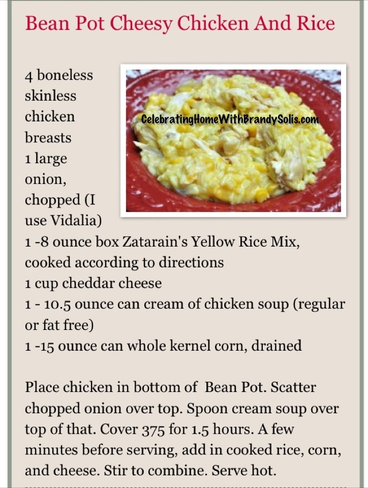 Bean Pot Chicken Cheese and Rice.  Get the full recipe here http://beanpotcookingwithbrandysolis.blogspot.com/