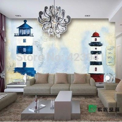 Can customized fresco wall mural large wall covering wallpaper 3d kids room bedroom decorative hope lighthouse Mediterranean Sea