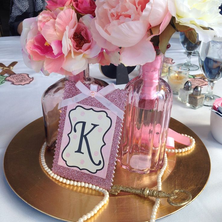 Diy Pink And Gold Centerpieces In 2019 1st Birthday