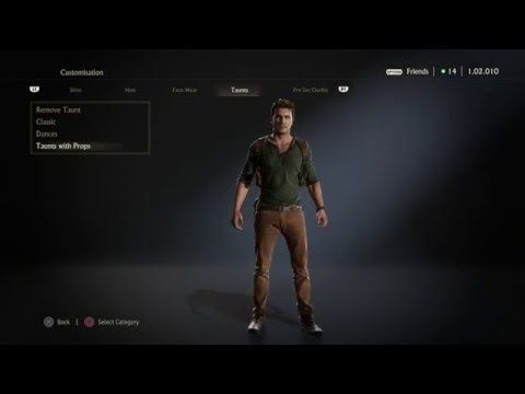 Uncharted 4 Dances Taunts with Props - YouTube