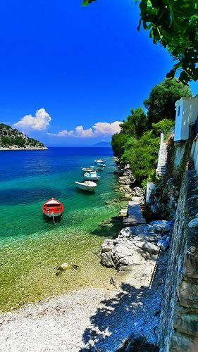 Boats at Kioni village on Ithaca island, Ionian Sea, Greece