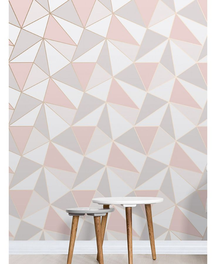 This Apex Geometric Wallpaper in tones of pink, white and grey features a contemporary geometric pattern with a metallic outline. Free UK delivery available