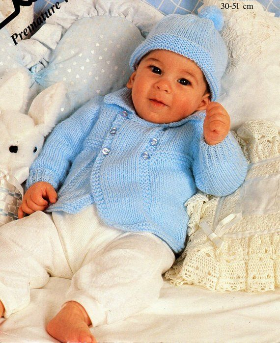 How Many Stitches Does A Premature Baby Hat Have : stitches, premature, B8474, Knitting, Pattern, Premature, Jacket, Cardigan, Collar, 12-20, Ligh…, Coat,, Patterns,