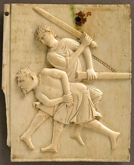 http://theofilakt.livejournal.com/136823.html Панель из слоновой кости с изображением убийства короля Асорского, XI век, Византия. Музей Метрополитен.