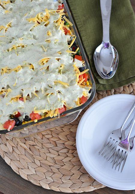 Layered Mexican Cornbread Salad | Mel's Kitchen Cafe