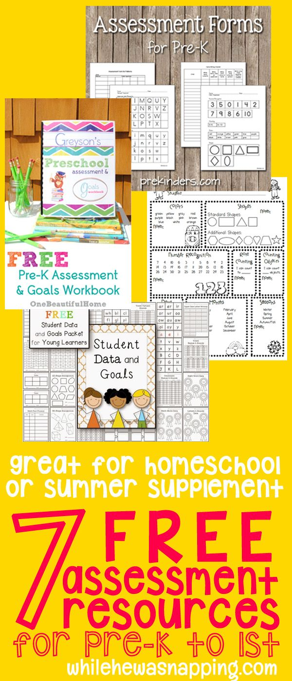 7 free resources to help you take an informative and fun assessment on students Pre-K to 1st grade. Perfect for homeschool or summer supplemental learning.