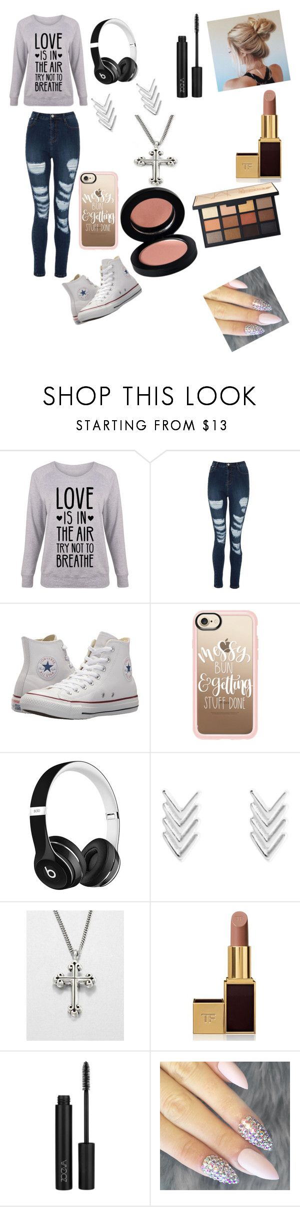 """""""Landry's outfit // chap 38"""" by hannahlewis23 ❤ liked on Polyvore featuring Converse, Casetify, Beats by Dr. Dre, King Baby Studio, Tom Ford, ZOEVA and plus size clothing"""