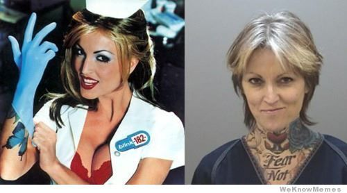 Time hasn't been so kind to Jesse James ex wife and nurse/pornstar on the cover of Blink 182′s Enema of the state.