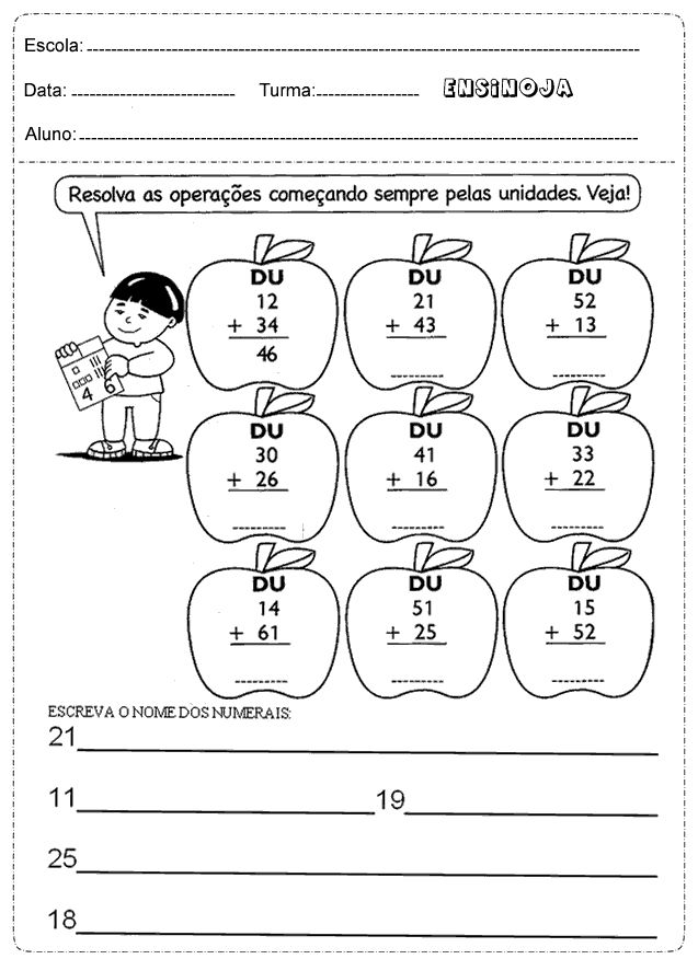 Atividades de matemática 2° ano adição e subtração – Ensino Já