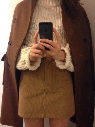 sweater aesthetic cute korean fashion tumblr girl aesthetic tumblr turtleneck skirt brown