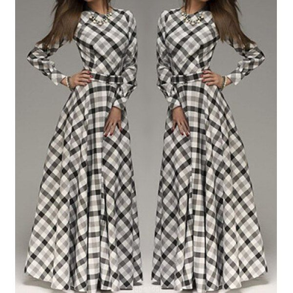 love this. Vintage Round Neck Long Sleeve Plaid Women's Maxi Dress