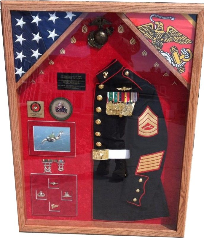 "Example of framing and preserving military memorabilia. We can frame just about anything from military guidons, rifles, medals and even the complete Marine Blues blouse as a special Christmas gift or retirement award for a Marine!  ""Once a Marine Always a Marine"" ""Semper Fidelis"""