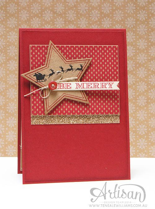 By Teneale Williams | Artisan Blog Hop | Many Merry Stars, Holiday Home, Holiday Invitation, Santa, Red Gold