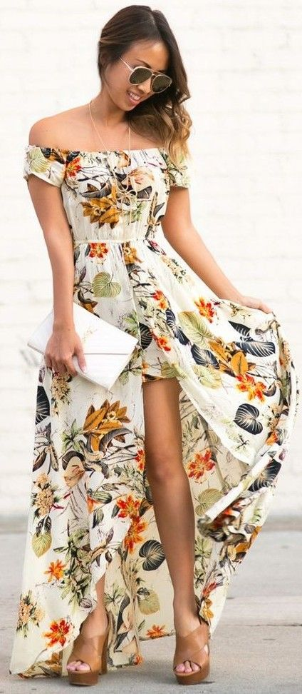 Off The Shoulder Floral Maxi Dress                                                                             Source
