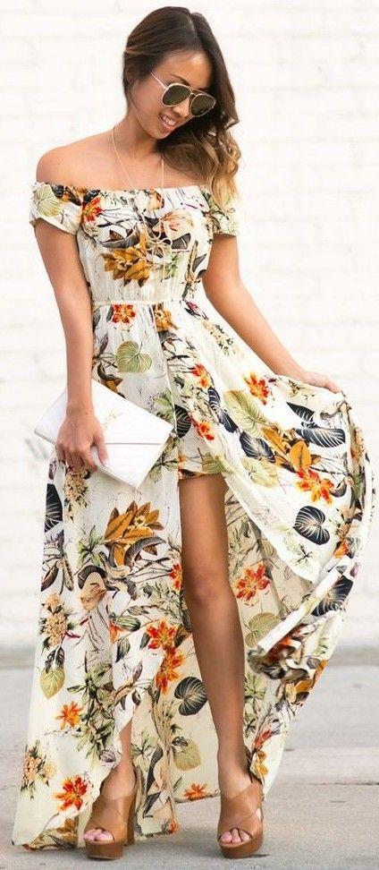 Off The Shoulder Floral Maxi Dress                                                                             Source